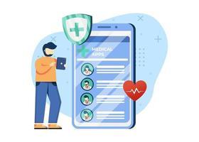 illustration vectorielle de médecin en ligne. un homme sélectionne les médecins de l'application médicale. contrôle en ligne. peut utiliser pour la page d'accueil, les applications mobiles. style plat illustration de personnage de dessin animé. vecteur