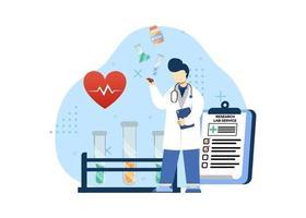 illustration vectorielle de pharmacie concept. service de laboratoire de recherche. service de laboratoire médical indépendant, laboratoire médical, test de santé. style plat illustration de personnage de dessin animé. vecteur