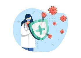 illustration vectorielle de virus prévention concept. femme médecin combat le virus avec un bouclier médical. peut utiliser pour la page d'accueil, les applications mobiles. style plat illustration de personnage de dessin animé. vecteur