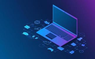 informations d'analyse isométrique d'ordinateur portable. concept futuriste. vecteur