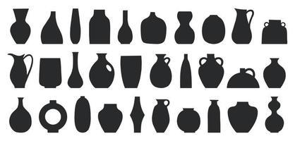 ensemble de différentes formes de vases décoratifs et pots vector illustration. formes minimalistes dans des couleurs noires. art contemporain pour la décoration intérieure. élément de conception pour affiche, couverture, brochure