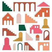 ensemble contemporain à la mode d'architecture de géométrie esthétique, escaliers marocains, murs, arc, arc, vases. affiches de vecteur pour la décoration murale dans un style vintage