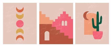 illustrations esthétiques abstraites minimalistes modernes. décoration murale de style bohème. collection d'affiches artistiques contemporaines vecteur