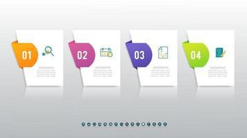 conception infographique de la chronologie avec des icônes 4 étapes. vecteur