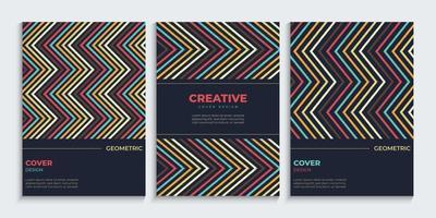 conception de couverture de lignes en zigzag sertie de couleurs vintage