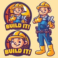 construire le modèle de logo de mascotte vecteur