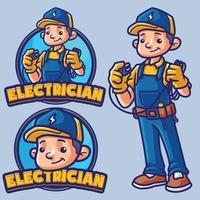 personnage de mascotte électricien vecteur