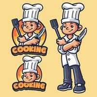 modèle de logo de mascotte de cuisine vecteur