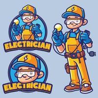 modèle de logo mascotte électricien vecteur