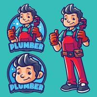 modèle de logo mascotte plombier vecteur