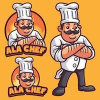 modèle de logo de mascotte de chef vecteur