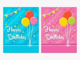 carte de joyeux anniversaire, carte d'anniversaire de thème de couleur bleue et rose