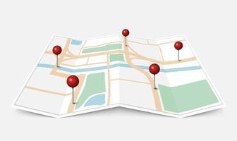 plan de ville papier plié avec pointeur épingle rouge, illustration vectorielle vecteur