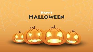 fond d'halloween, citrouille halloween mis émotion différente, illustration vectorielle vecteur