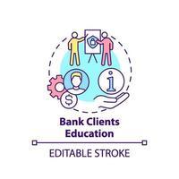 icône de concept d & # 39; éducation de clients de banque vecteur