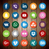 Icône de médias sociaux sur bois vecteur