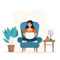 fille assise sur un fauteuil et travaillant de l'illustration de la maison. vecteur