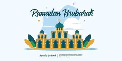 conception de ramadan mubarak avec mosquée vecteur