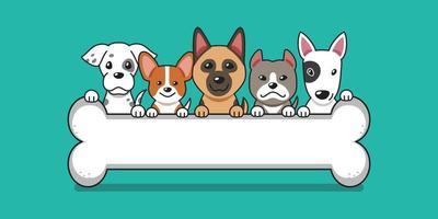 chiens mignons de dessin animé de vecteur avec gros os