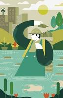 l'homme célèbre le jour de la terre en nettoyant l'eau vecteur