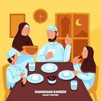 temps de sahur en famille pendant le ramadan vecteur