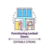 Icône de concept de porte verrouillée fonctionnelle vecteur