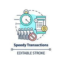 icône de concept de transactions rapides vecteur