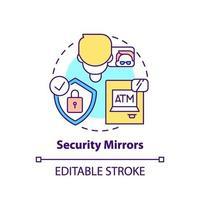 icône de concept de miroirs de sécurité vecteur