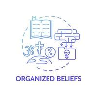 icône de concept de dégradé bleu croyances organisées vecteur