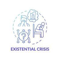 icône de concept dégradé bleu crise existentielle vecteur