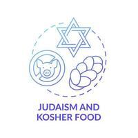 Judaïsme et icône de concept de dégradé bleu alimentaire casher vecteur