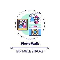 icône de concept de marche photo vecteur