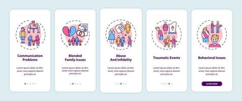 écran de page d & # 39; application mobile d & # 39; intégration des types de thérapie familiale en ligne avec concepts vecteur