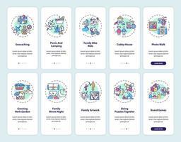 Écran de la page de l'application mobile d'intégration de plaisir en famille avec ensemble de concepts vecteur