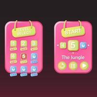 rgbset de base du jeu de sélection de niveau ui pop up et star avec ruban pour illustration vectorielle 2d gui