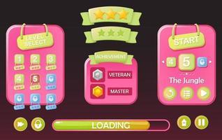 ensemble de jeu de sélection de niveau ui pop up et étoile avec ruban pour illustration vectorielle 2d gui