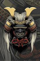 casque de samouraï avec accessoires pour cheveux vecteur