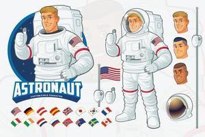 Ensemble de conception de mascotte d'astronaute avec fonctionnalités optionnelles vecteur