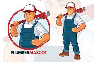 conception de mascotte de plombier vecteur