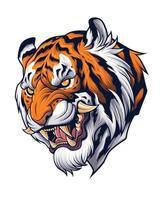 tête de tigre dans une représentation de style japonais vecteur