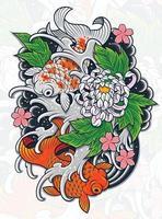 conception de tatouage de poisson japonais vecteur