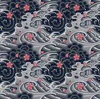vague japonaise avec motif sans couture sakura pour textile, arrière-plan, vêtements ou papier peint vecteur