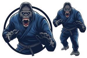 mascotte de gorille et illustration pour un événement d'arts martiaux ou une salle de sport vecteur