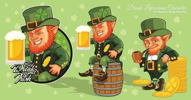 Personnage de dessin animé de lutin, jour de la Saint-Patrick vecteur