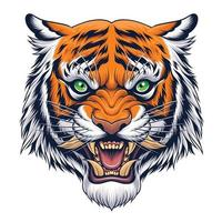 tête de tigre en illustration de style japonais vecteur