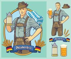 Oktoberfest design homme allemand portant des lederhosen vecteur