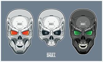 crâne en métal avec un design futuriste et mécanique vecteur