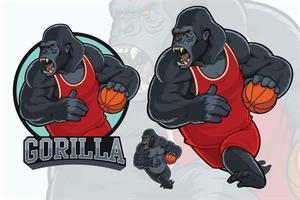 mascotte de gorille pour l'équipe de basket vecteur