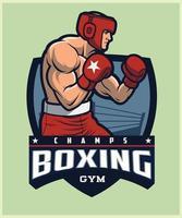 logo de mascotte de boxe vecteur