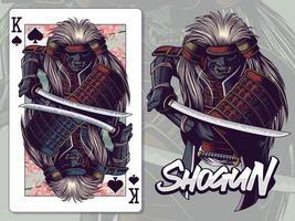 illustration de samouraï pour la conception de cartes à jouer roi de pique vecteur
